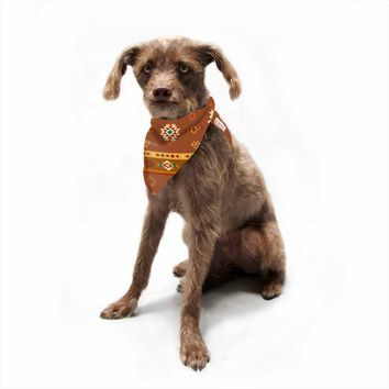 "afe images ""AFE Southwestern 2"" Brown Gold Pattern Tribal Digital Illustration Pet Bandana"