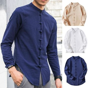 Men's Casual Tops Summer Long-Sleeve T-Shirt Buton Linen Solid Blouse