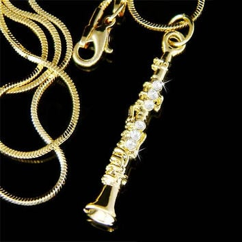 Swarovski Crystal Gold Plated Clarinet Woodwind Instrument Music Musical Pendant Necklace Christmas Best Friend Gift New