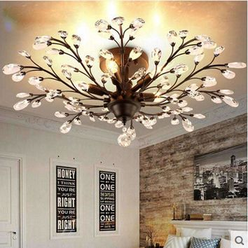 Z American Vintage Style Crystal Chandelier Lighting E14 LED Interface Iron Ceiling lamps K9 Crystal Design Lighting Fixture