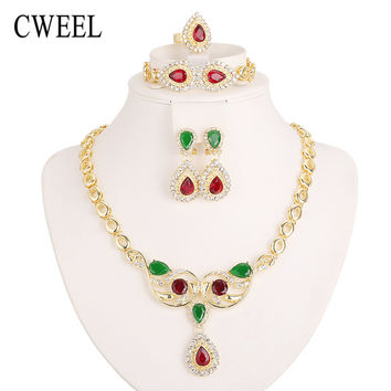 Cweel Women Gold Plated Jewelry set Costume Austrian Crystal Necklace Earrings Bracelet Ring Wedding Accessories African Beads