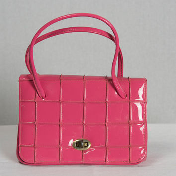 Vintage 1950's Pink Patent Leather Handbag Small Kelly Bag Purse
