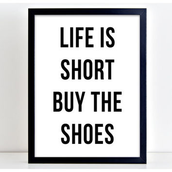 Life Is Short Prints Motivational Poster Word Art Print Kitchen Quote Motivation Famous Wall Sign Letters Home Decor  PP50