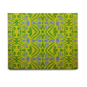 "Miranda Mol ""Ornamental Lace Green"" Green Blue Pattern Damask Mixed Media Digital Birchwood Wall Art"