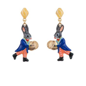 N2 by Les Néréides BRASS BAND RABBIT AND CYMBAL EARRINGS