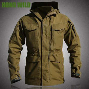 HONG WILD M65 UK US Army Clothes Tactical  Windbreaker Men Winter Thermal Flight Pilot Coat Hoodie Military Field Jacket