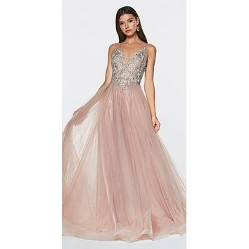 A-Line Tulle Prom Gown Mauve V-Neckline Beaded Bodice Open Back