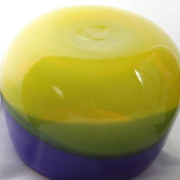 Opaque and Translucent Open Mouth, Blue, Yellow, and Green Bowl, Hand Blown Glass Bowl - Free Shipping