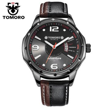 TOMORO 2017 New Luxury Casual Fashion Men Genuine Leather Japan Calendar Clock Quartz Unique Black Watches relogio masculino