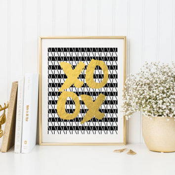 XOXO Scandinavian Art Fashion Art Print Minimalism Art Printable Wall Art Instant Download Nordic Design Black And Gold Gold Foil XOXO GOLD