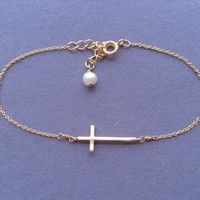 Sideways, Cross, Gold, Silver, Bracelet, Gift, Jewelry