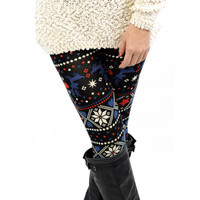 Starry Nights Red & Blue Winter Leggings