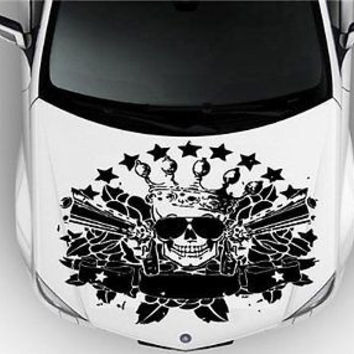 Skull Guns Thug Hood Auto Car Vinyl Decal Stickers 7962