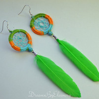 Multicolor Green Dream Catcher Earrings, Feather Earrings, Dangle Earrings, With Turquoise gemstone