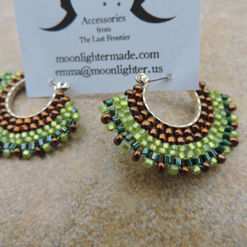 Green and Bronze Brick Stitch Hoop Earrings