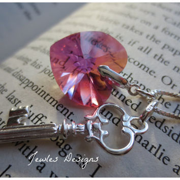 Swarovski Crystal Heart and Sterling Silver Key, Womens accessories, JewlesDesigns on Etsy