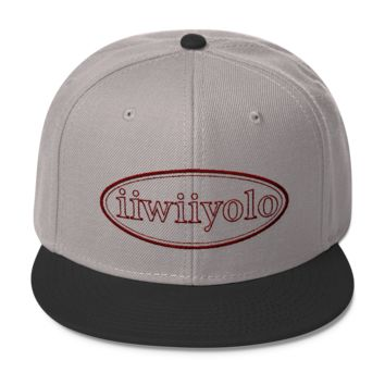 Wool Blend Snapback - Maroon iiWiiyolo Oval Label