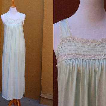 Vtg sheer chiffon nightgown light blue lace ruffle detail medium Full length Sexy