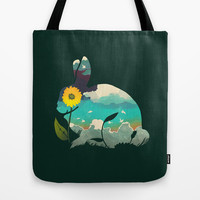 Rabbit Sky - (Forest Green) Tote Bag by Amelia Senville