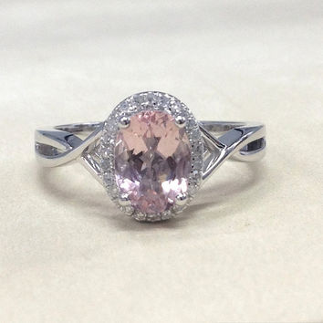 Morganite Engagement Ring 14K White Gold!Diamond Wedding Bridal Ring,Split Shank,6x8mm Oval Cut Pink Morganite,Can make matching band