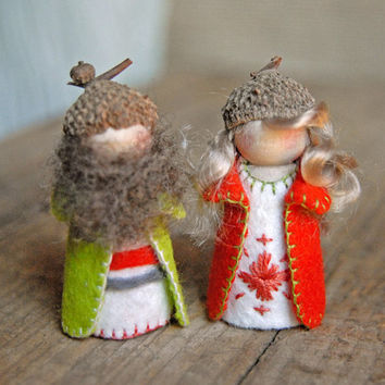 Gnome Couple- Red/Orange and Bright Lime Green- Waldorf Inspired - Peg Dolls