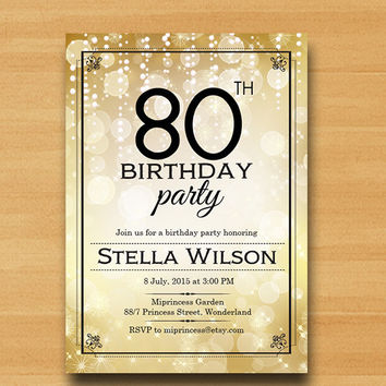 elegant glam gold  Birthday Invitation, any age 30th 40th 50th 60th 70th 80th invitation Retro  glitter Invitation Card Design - card 312