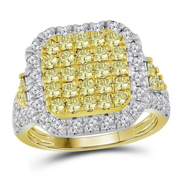 14kt Yellow Gold Womens Round Natural Canary Yellow Diamond Square Cluster Ring 2-1/3 Cttw