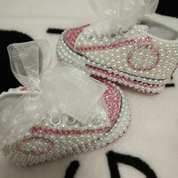 Baby Bling Newborn Infant Baby Girl High Top Shoes White with Pink Jewels & Pearls