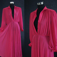 Vintage Dress 70s Deep V Sheer Pink Chiffon Drape Boho EMPIRE Maxi Dress Drape Dress Pink Vintage Dress Small Medium