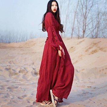 Long Maxi V-Neck Red Pleated Vintage Royal High Waist One-Piece Women Dresses