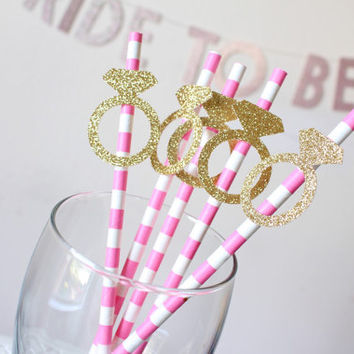 Party straws - Kate Spade Themed Party - Pink party straws - Glitter Party Straws - Bridal Shower Decorations - Pink and Gold Bridal Shower