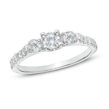 3/4 CT. T.W. Diamond Three Stone Engagement Ring in 14K White Gold