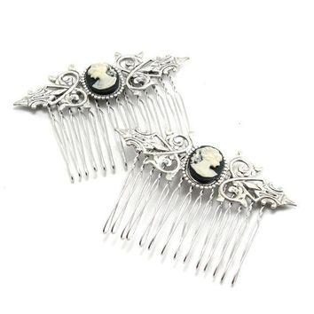 Lovely NEO VICTORIAN Cameo Hair Combs