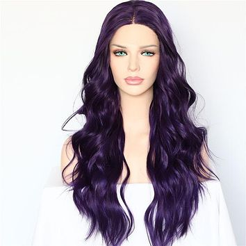 Giana- Deep Purple Loose Wave Front Lace Wig
