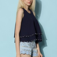 Twinkle Pearls Tiered Chiffon Top in Navy
