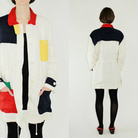 80s colorblock linen anorak lightweight jacket linen parka primary colors casual anorak MEDIUM MED M