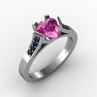 Gorgeous 14K White Gold 1.0 Ct Heart Pink and Blue Sapphire Modern Wedding Ring, Engagement Ring for Women R663-14KWGBSPS