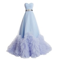 Dresstells Sweetheart Tulle Wedding Dress Prom Dress with Train