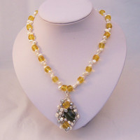 Sunshine Citrine, White and Grey Freshwater Pearls and Serpentine Necklace with Mosaic Wire Wrapped Pendant, Yellow, White