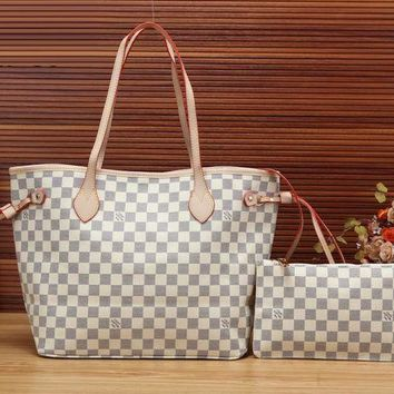 LMFON Tagre? Louis Vuitton Women Fashion Leather Handbag Bag Cosmetic Bag Two Piece Set
