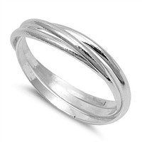 925 Sterling Silver Classic Three Band Promise 4.5MM Ring