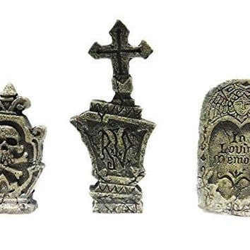 Fiddlehead Fairy Garden Miniature Garden Accessories - 3 Piece Tombstones for Halloween Decor Grave Stones