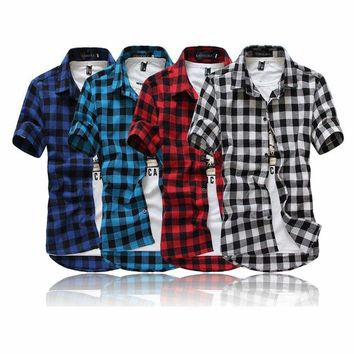 Plaid Shirt Men Shirts Summer Fashion Chemise Casual Slim Dress Short Sleeve