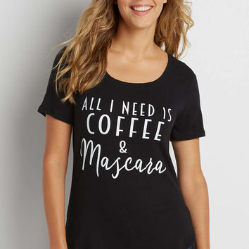 tee with all I need is coffee and mascara graphic   maurices