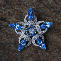 Vintage BOGOFF Brooch Large Snowflake Starburst Blue Clear Rhinestones Pin Up Wedding Bridal 1950's // Vintage Designer Costume Jewelry