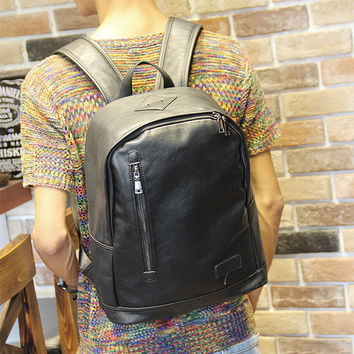 Men's Rucksack 14 inch Laptop Bag Leather Backpack