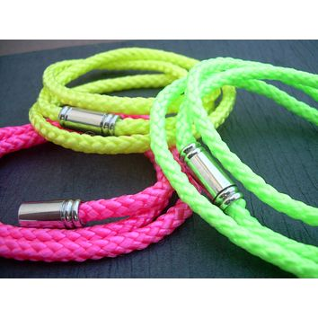 Womens Leather  Bracelet, Alternative, Triple Wrap, Braided, Neon Colors, Vegan,Womens Jewelry, Teen Jewelry, Neon, Magnetic,