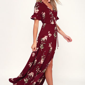 September Sunsets Burgundy Floral Print Wrap Maxi Dress