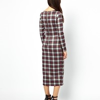 Glamorous Midi Dress In Plaid With Zip Back