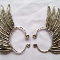 Miao Ear Cuff - Silver Feathered Wings